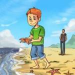 Мальчик и морские звёзды